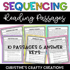 -This file includes 10 sequencing passages & answer keys!-PDF & PPT versions-Great for small group instruction, homework assignments, whole group instruction, and more! Elementary Library, Elementary Teacher, Elementary Education, Upper Elementary, Comprehension Strategies, Reading Comprehension, Teaching Kindergarten, Teaching Ideas, Middle School English