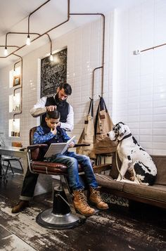 BARBER Amsterdam by Tim Collins Love the dog waiting patiently Barber Shop Interior, Barber Shop Decor, Salon Interior Design, Beauty Salon Interior, Kids Barber Shop, Best Barber Shop, Gentleman Barber Shop, Barbershop Design, Barbershop Ideas