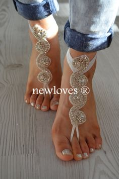Champagne french lace sandals by newgloves.... for the refined hillbilly in me that hates shoes. lol