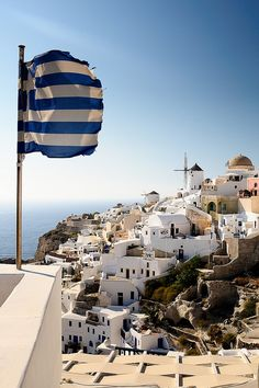 Greece : Santorini - a worn out old greek flag blowing in the wind Places Around The World, Oh The Places You'll Go, Travel Around The World, Places To Travel, Places To Visit, Around The Worlds, Mykonos, Wonderful Places, Beautiful Places