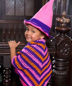 Little Witch Hat & Shawl Free Crochet Pattern from Red Heart Yarns