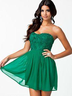 Cornelli Lace Dress - Elise Ryan - Emerald Green - Festkjoler - Tøj - Kvinde - Nelly.com