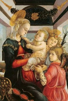 Sandro Botticelli (Italian artist, 1445-1510) Madonna and Child with 2 Angels 1470