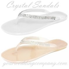 Bling up your style with these cute Swarovski Crystal Sandals. Great for beach weddings. They make a cute bridesmaid gift or bridal flipp flop and can be dressed up with flowers, etc. www.yourweddingcompany.com