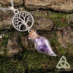 Bijou Collier elfique celtique Alchemya fiole verre Améthyste violet pointe pendule pierre gemme arbre de vie yggdrasil argenté médiéval cristal magie wicca ésotérisme mariage pendule divination fée gothique