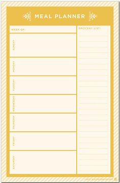 An essential tool to stay organized and stay healthy - - weekly meal planner and grocery list.