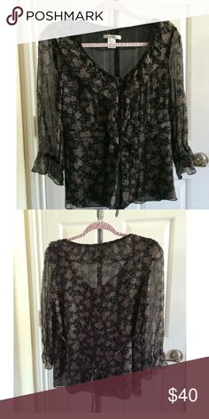 Nine West Floral and Flirty Sheer Top Fun and Flirty Long Sleeve Top with Tie in Back✨Sheer Floral Print with Black Lining Nine West Tops Blouses