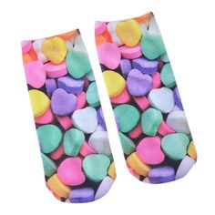 2016 Fashion Women Multicolor Socks Hot Cartoon Heart Print Socks 20x18cm 1 Pair 1PCs