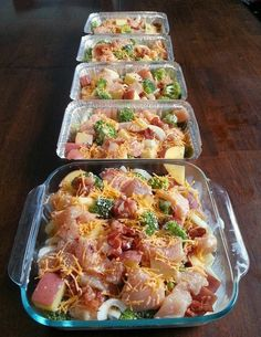 Chicken, broccoli, potato, and cheese bake. Freezer meal.