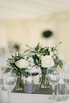 Hottest 7 Spring Wedding Flowers to Rock Your Big Day--white roses and greenery centerpieces, diy wedding decorations Wedding Table Centres, Wedding Table Flowers, Wedding Flower Decorations, White Wedding Flowers, Wedding Table Centerpieces, Floral Flowers, Floral Wedding, Wedding Bouquets, Bouquet Flowers