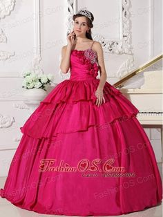 Gorgeous Hot Pink Quinceanera Dress Straps Taffeta Beading Ball Gown- $185.59  www.fashionos.com  pleated quinceanera gown dresses with straps