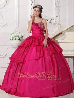 Gorgeous Hot Pink Quinceanera Dress Straps Taffeta Beading Ball Gown  http://www.fashionos.com    | sweet 16 quinceanera dress | quinceanera dress with corset back |