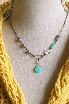 Caitlin. romantic,baroque pearl,crystal,gemstone necklace. tiedupmemories