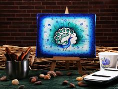 Funky mini easel peacock pallette canvas #painting buy from #craftshopsindia