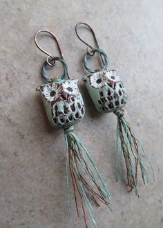 Your place to buy and sell all things handmade Owl Jewelry, Clay Jewelry, Jewelry Crafts, Beaded Jewelry, Jewelry Design, Jewelry Ideas, Bird Earrings, Clay Earrings, Artisan Jewelry