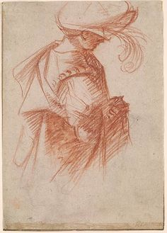 Giovanni Antonio Pordenone Half-Length Figure of a Youth with a Plumed Hat. Verso: Half-Length Figure of Seated Youth, Trois Crayons, White Gouache, Unique Drawings, Morgan Library, Chalk Drawings, Grisaille, Old Master, Michelangelo, Drawing People