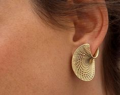 Unique Gold Earrings - 14K Gold Studs Earrings, Twisted Earrings, Amorphous Disk Earrings, Solid Gold Stud Earrings for Women, Geometric Net by Hella Ganor Jewelry