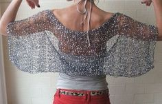 silver shrug / Silver firefly loose weave evening shrug by ileaiye Clothes Crafts, Knitted Poncho, Size 16 Dresses, Grunge Style, Crochet Clothes, Keds, Knitwear, Knitting Patterns, Knit Crochet