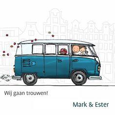 Trouwkaarten - Trouwkaart VW bus spijltje T1