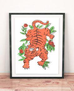 Tiger screenprint by NikolettArtStore on Etsy