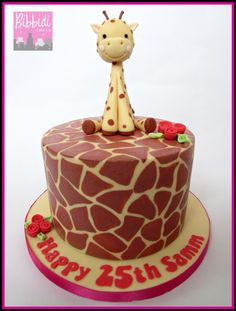 Giraffe print cake with sugarpaste giraffe by Bibbidi Cake Co.