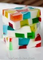 Glass Block Holiday Jello {Festive!} | Our Best Bites. I really want to make these Stainglass Jell-O square gelatin yummy things I think it would be a great alternative to birthday cake and super fun at kid parties