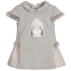 Girls grey short-sleeved dress by Lapin House with synthetic fur cuffs and trim. Made in a soft cotton jersey with pink woven piping and skirt trim. On the front it has an adorable print picturing a rabbit wearing a pink pompom hat with diamanté embellishment and the designer's logo in silver glitter. The dress fastens at the back with a concealed zip for easy changing.