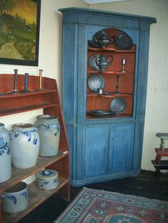 corner cupboard with original blue paint, 18th century, Lancaster County, PA