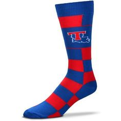For Bare Feet Louisiana Tech University Jumbo Checkered Crew Dress Socks (Blue, Size One Size) - NCAA Licensed Product, NCAA Novelty at Academy Sports
