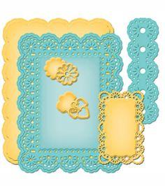 Spellbinders Nestabilities A2 Card Creator Dies Floral Ribbon Threader