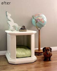 DIY dog bed or indoor dog house made from a nightstand that is perfect for little dogs.