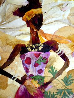 Lady With Character  Original Pressed Plants Art by OrganicArtWow, $45.00