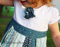 Make a half-hour masterpiece for your daughter using your old skirt, and her old shirt. What fun! From Make it - love it. #refashioning #sewing