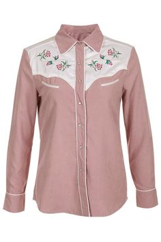 Flower Embroidery Nude-pink Shirt(Coming Soon)  $69.99 #Romwe