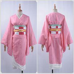 Cosplayflying - Buy Demon Slayer: Kimetsu no Yaiba Kamado Nezuko Cosplay Costume Custom Pink Kimono Jacket Belt Leggings