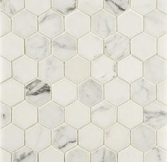 "ANN SACKS Statuary Classic 2"" hexagon marble mosaic in honed finish"