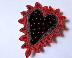 Rich embroidered felt and velvet  heart brooch