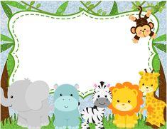 Gafetes escolares infantiles Safari Theme Birthday, 2nd Birthday Party Themes, Baby Boy 1st Birthday, Animal Birthday, Jungle Party, Safari Party, Superhero Party Decorations, Safari Invitations, Disney Frames