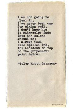 Typewriter Series by Tyler Knott Gregson. I don't think it's a bad thing. The Words, Pretty Words, Beautiful Words, Beautiful Poetry, Typewriter Series, Quotes Typewriter, My Demons, Words Worth, Thats The Way