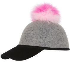 Charlotte Simone Sass Baseball Cap w/Tricolor Fur Pom-Pom, Pink/White