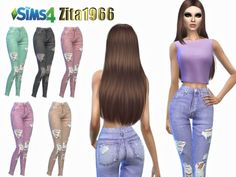 The Sims Resource: Colored Ripped Jeans by ZitaRossouw • Sims 4 Downloads