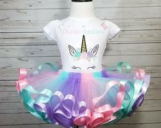 Unicorn ribbon trimmed, pink, aqua, lavender tutu