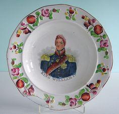 Staffordshire Pearlware Commemorative Plate ~ KING WILLIAM IV ~ Flowers c1830 NR #AmericanaGeorgian #Staffordshire
