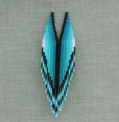 Extra Long Earrings. Native American Beaded Earrings Inspired. White, Black, Teal, Aqua, Mint, Blue Earrings. Beadwork on Etsy, $31.00