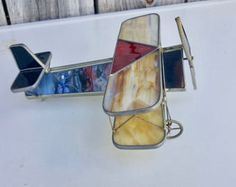 Vintage Stained Glass Airplane, Handcrafted Aviation Art, Patriotic Colors
