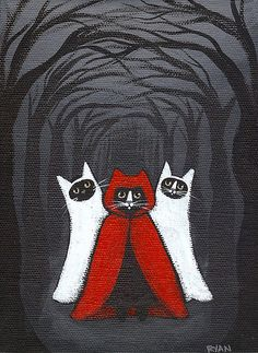 Ryan Conners' Cat Folk Art - omg, makes me laugh! Crazy Cat Lady, Crazy Cats, I Love Cats, Cool Cats, Psy Art, Halloween Cat, Happy Halloween, Cats And Kittens, Folk Art