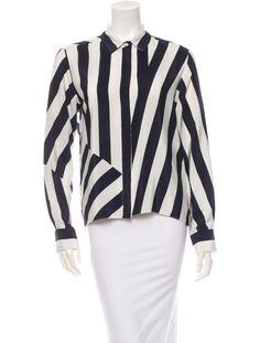 Blue and white striped Stella McCartney button-up blouse with pointed collar.