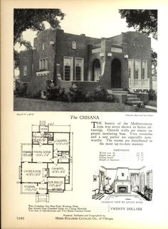 The CHISANA - Home Builders Catalog: plans of all types of small homes by Home Builders Catalog Co.  Published 1928