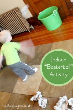 """Indoor """"basketball"""" with paper and a bucket. You could give each kid their own color of paper then count all the """"baskets"""" up. It would help with color recognition, counting and gross motor skills. Movement Activities, Gross Motor Activities, Indoor Activities For Kids, Team Building Activities, Gross Motor Skills, Therapy Activities, Toddler Activities, Preschool Activities, Physical Activities"""