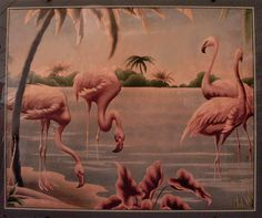Late Art Deco Flamingo picture by Turner, Flamingo Decor, Pink Flamingos, Flamingo Painting, Flamingo Pictures, Bird Pictures, Light Gray Paint, Grey Paint, Cracker House, Flamingo Pattern